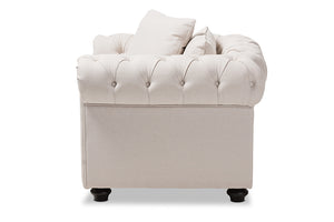 Baxton Studio Alaise Modern Classic Beige Linen Tufted Scroll Arm Chesterfield Chair Image 5