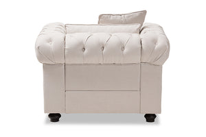 Baxton Studio Alaise Modern Classic Beige Linen Tufted Scroll Arm Chesterfield Chair Image 6