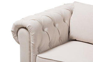 Baxton Studio Alaise Modern Classic Beige Linen Tufted Scroll Arm Chesterfield Chair Image 7
