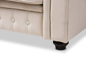 Baxton Studio Alaise Modern Classic Beige Linen Tufted Scroll Arm Chesterfield Chair Image 8
