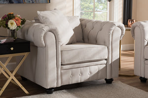 Baxton Studio Alaise Modern Classic Beige Linen Tufted Scroll Arm Chesterfield Chair Image 9