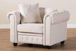 Baxton Studio Alaise Modern Classic Beige Linen Tufted Scroll Arm Chesterfield Chair Image 10