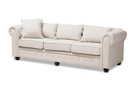 Baxton Studio Alaise Modern Classic Beige Linen Tufted Scroll Arm Chesterfield Sofa-Sofas & Loveseats-HipBeds.com