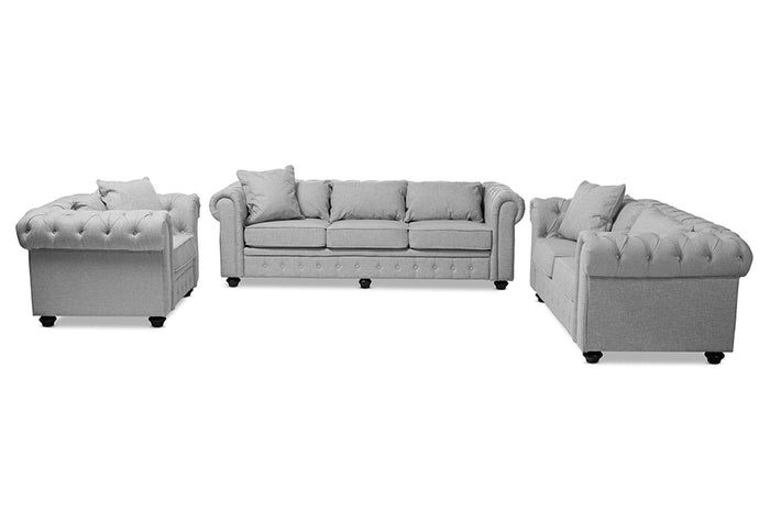 Baxton Studio Alaise Modern Classic Grey Linen Tufted Scroll Arm Chesterfield 3-Piece Living Room Set