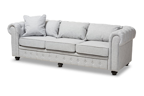 Baxton Studio Alaise Modern Classic Grey Linen Tufted Scroll Arm Chesterfield Sofa-Sofas & Loveseats-HipBeds.com