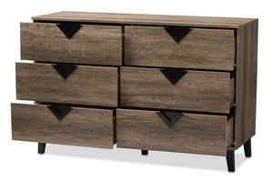 Baxton Studio Wales Modern and Contemporary Light Brown Wood 6-Drawer Chest Image 4