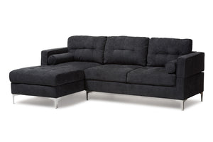 Baxton Studio Mireille Modern and Contemporary Dark Grey Fabric Upholstered Sectional Sofa-Sectional Sofas-HipBeds.com