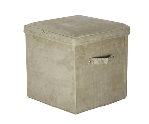 Casual Home Seat Pad Folding Storage Ottoman. Micro Suede Cover-Beige - 112-60-Ottomans-HipBeds.com