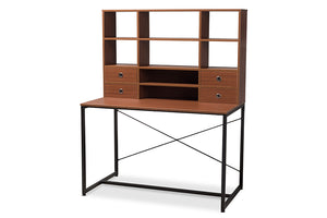 Baxton Studio Edwin Rustic Industrial Style Brown Wood and Metal 2-in-1 Bookcase Writing Desk-Desks-HipBeds.com