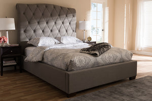 Baxton Studio Victoire Modern and Contemporary Light Grey Fabric Upholstered Queen Size Platform Bed Image 8