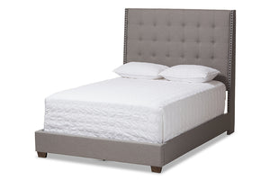 Baxton Studio Georgette Modern and Contemporary Light Grey Fabric Upholstered Queen Size Bed Image 3