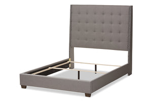 Baxton Studio Georgette Modern and Contemporary Light Grey Fabric Upholstered King Size Bed Image 5