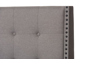 Baxton Studio Georgette Modern and Contemporary Light Grey Fabric Upholstered King Size Bed Image 6