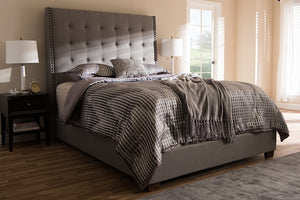 Baxton Studio Georgette Modern and Contemporary Light Grey Fabric Upholstered King Size Bed Image 8