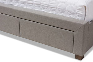 Baxton Studio Aurelie Modern and Contemporary Light Grey Fabric Upholstered Queen Size Storage Bed-Storage Beds-HipBeds.com