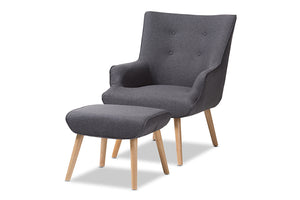 Baxton Studio Alden Mid-Century Modern Dark Grey Fabric Upholstered Natural Finished Wood Lounge Chair and Ottoman Set Image 3