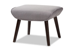 Baxton Studio Alden Mid-Century Modern Light Grey Fabric Upholstered Dark Brown Finished Wood Ottoman Image 3