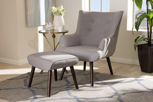 Baxton Studio Alden Mid-Century Modern Light Grey Fabric Upholstered Dark Brown Finished Wood Lounge Chair and Ottoman Set Image 9