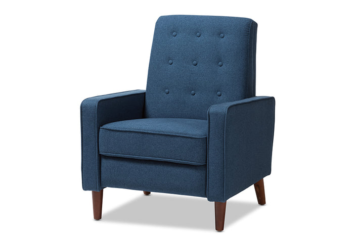 Baxton Studio Mathias Mid-century Modern Blue Fabric Upholstered Lounge Chair
