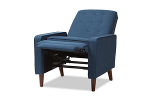 Baxton Studio Mathias Mid-century Modern Blue Fabric Upholstered Lounge Chair-Chairs-HipBeds.com