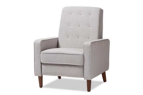 Baxton Studio Mathias Mid-century Modern Light Grey Fabric Upholstered Lounge Chair-Chairs-HipBeds.com