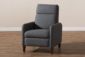 Baxton Studio Casanova Mid-century Modern Grey Fabric Upholstered Lounge Chair-Chairs-HipBeds.com