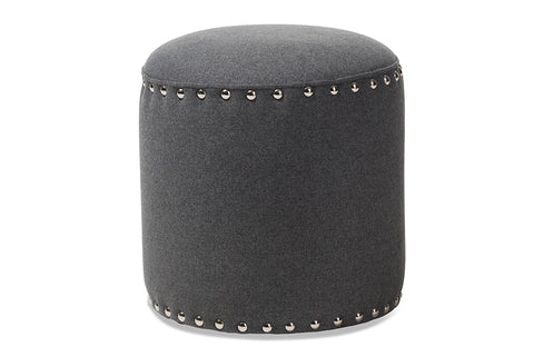Baxton Studio Rosine Modern and Contemporary Dark Grey Fabric Upholstered Nail Trim Ottoman Image 3
