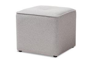 Baxton Studio Corinne Modern and Contemporary Light Grey Fabric Upholstered Ottoman-Ottomans-HipBeds.com