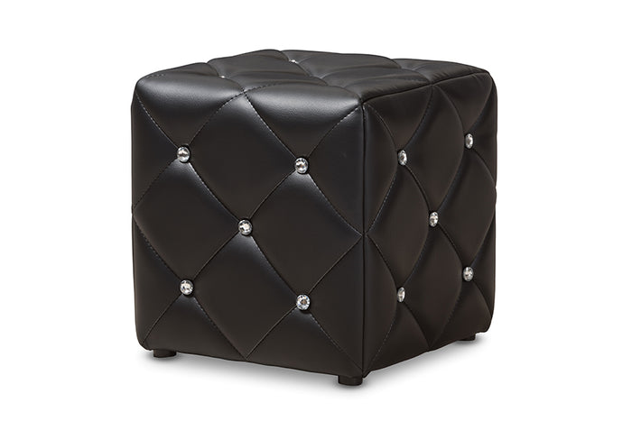 Baxton Studio Stacey Modern and Contemporary Black Faux Leather Upholstered Ottoman