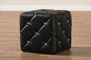 Baxton Studio Stacey Modern and Contemporary Black Faux Leather Upholstered Ottoman-Ottomans-HipBeds.com