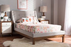 Baxton Studio Louvain Modern and Contemporary Greyish Beige Fabric Upholstered Walnut-Finished Twin Sized Platform Bed Image 3