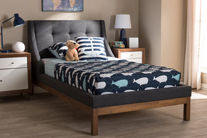 Baxton Studio Louvain Modern and Contemporary Dark Grey Fabric Upholstered Walnut-Finished Twin Sized Platform Bed Image 3