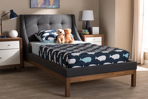 Baxton Studio Louvain Modern and Contemporary Dark Grey Fabric Upholstered Walnut-Finished Twin Sized Platform Bed Image 4