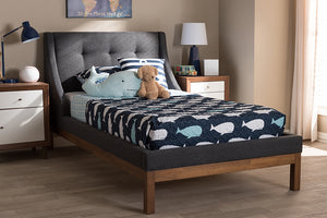 Baxton Studio Louvain Modern and Contemporary Dark Grey Fabric Upholstered Walnut-Finished Twin Sized Platform Bed Image 10