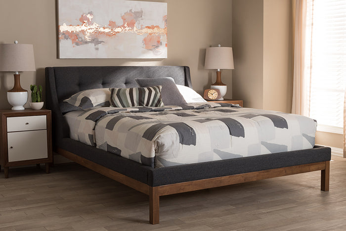 Baxton Studio Louvain Modern and Contemporary Dark Grey Fabric Upholstered Walnut-Finished Queen Sized Platform Bed