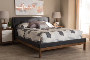 Baxton Studio Louvain Modern and Contemporary Dark Grey Fabric Upholstered Walnut-Finished Queen Sized Platform Bed Image 4