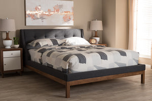 Baxton Studio Louvain Modern and Contemporary Dark Grey Fabric Upholstered Walnut-Finished Queen Sized Platform Bed Image 10