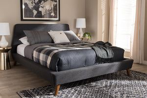Baxton Studio Sinclaire Modern and Contemporary Dark Grey Fabric Upholstered Walnut-Finished Queen Sized Platform Bed Image 3