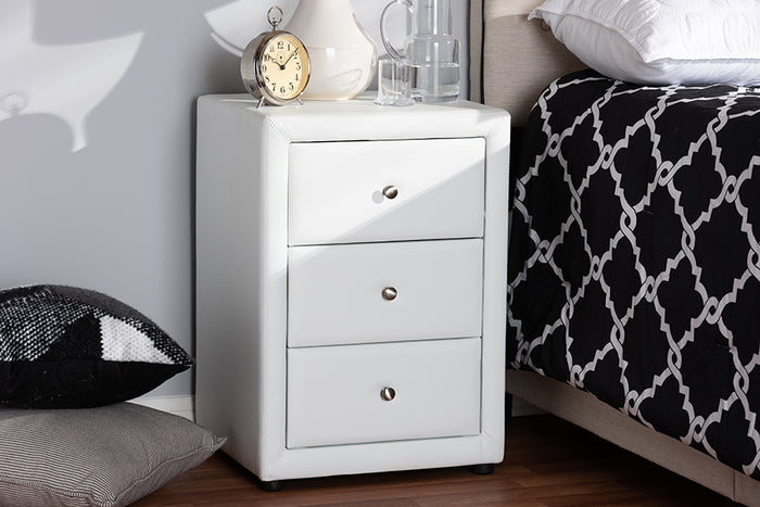Baxton Studio Tessa Modern and Contemporary White Faux Leather Upholstered 3-Drawer Nightstand