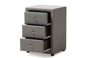 Baxton Studio Tessa Modern and Contemporary Grey Fabric Upholstered 3-Drawer Nightstand Image 6