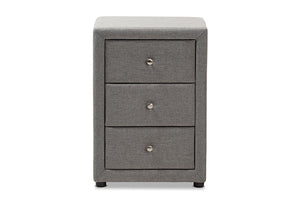 Baxton Studio Tessa Modern and Contemporary Grey Fabric Upholstered 3-Drawer Nightstand Image 7