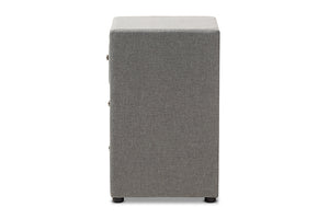 Baxton Studio Tessa Modern and Contemporary Grey Fabric Upholstered 3-Drawer Nightstand Image 8