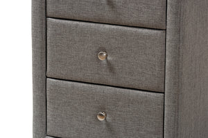 Baxton Studio Tessa Modern and Contemporary Grey Fabric Upholstered 3-Drawer Nightstand Image 9