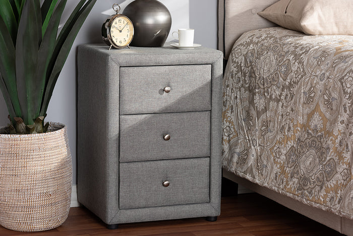 Baxton Studio Tessa Modern and Contemporary Grey Fabric Upholstered 3-Drawer Nightstand