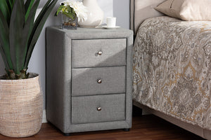 Baxton Studio Tessa Modern and Contemporary Grey Fabric Upholstered 3-Drawer Nightstand Image 4