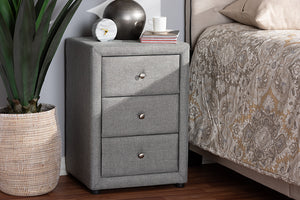 Baxton Studio Tessa Modern and Contemporary Grey Fabric Upholstered 3-Drawer Nightstand Image 11