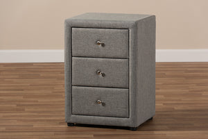 Baxton Studio Tessa Modern and Contemporary Grey Fabric Upholstered 3-Drawer Nightstand Image 12