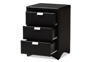 Baxton Studio Talia Modern and Contemporary Black Faux Leather Upholstered 3-Drawer Nightstand Image 6
