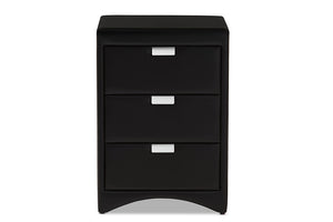 Baxton Studio Talia Modern and Contemporary Black Faux Leather Upholstered 3-Drawer Nightstand Image 7