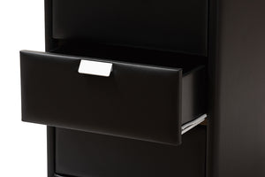 Baxton Studio Talia Modern and Contemporary Black Faux Leather Upholstered 3-Drawer Nightstand Image 10